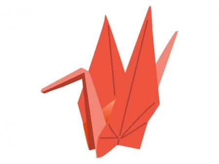 折り鶴(赤色)のイラスト