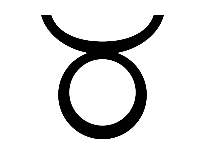 牡牛座 (おうしざ)の星座マークの白黒シルエットイラスト