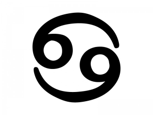 蟹座 (かにざ)の星座マークの白黒シルエットイラスト