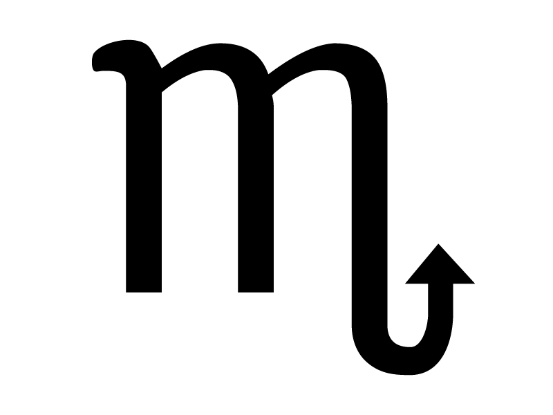 蠍座(さそりざ)の星座マークの白黒シルエットイラスト