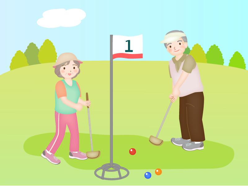 グランドゴルフをしているお年寄りのイラスト