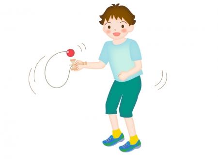 けん玉をしている少年のイラスト