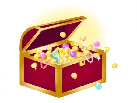 宝箱から宝石が溢れているイラスト