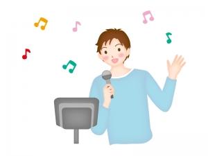 カラオケで唄っている男性のイラスト