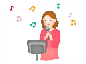 カラオケで唄っている女性のイラスト