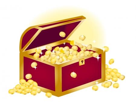 コインが溢れている宝箱のイラスト