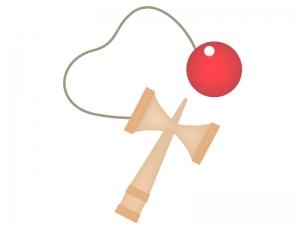 赤い玉のけん玉イラスト素材02