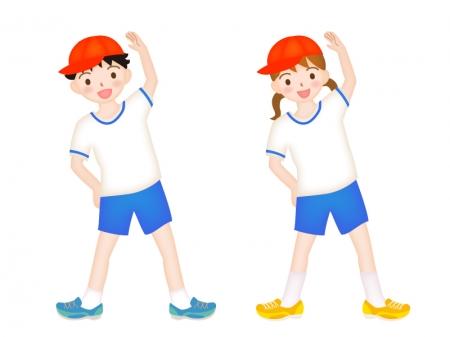 体操着で体操をする子供達のイラスト