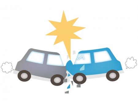 自動車の正面衝突の事故のイラスト