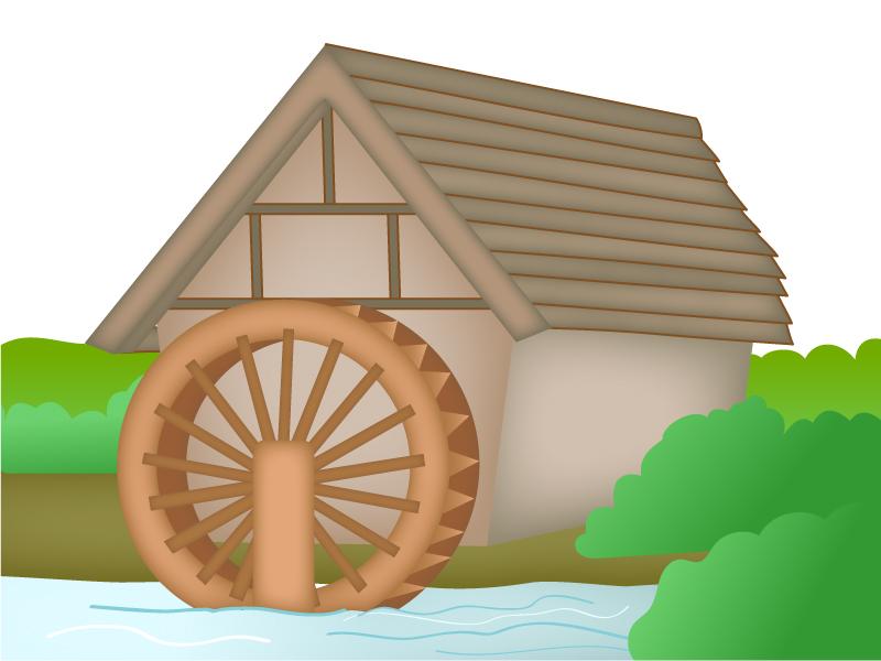 田舎の水車がある風景のイラスト