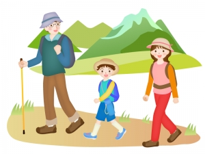 家族でハイキング・登山をしているイラスト