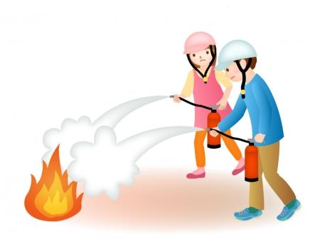 防災の日・防災訓練で火を消す訓練のイラスト