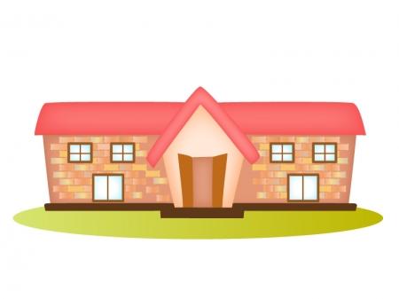 レトロなレンガ造りの建物のイラスト