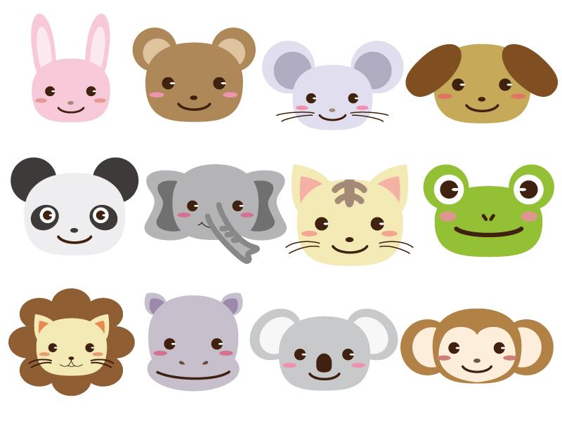 動物の顔のアイコンセットのイラスト