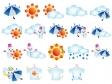天気マークと洗濯指数アイコンセットのイラスト