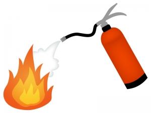 消火器と炎のイラスト