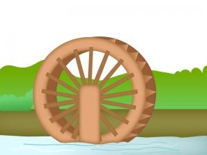 水車がある風景のイラスト