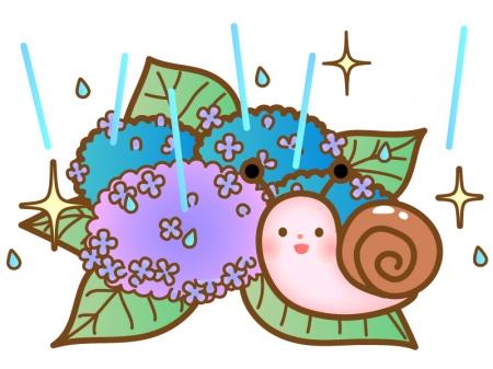 雨が降る中の紫陽花とカタツムリのイラスト