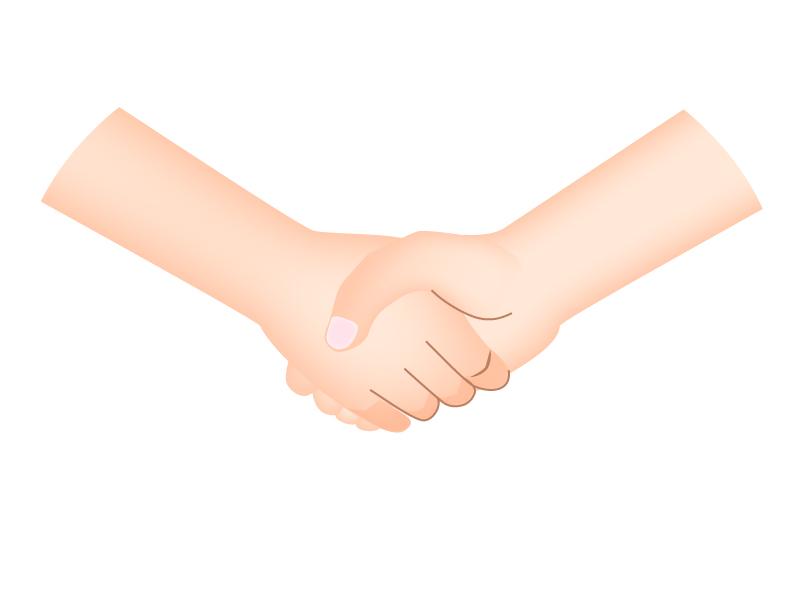握手している手と手のイラスト
