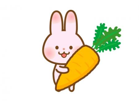 大きなニンジンを持ったウサギのイラスト