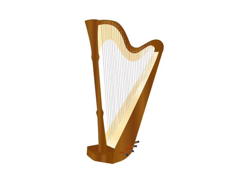 楽器・ハープのイラスト