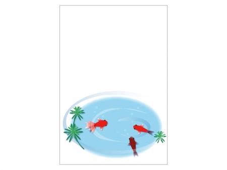 文字無し・金魚の暑中見舞いテンプレートイラスト01