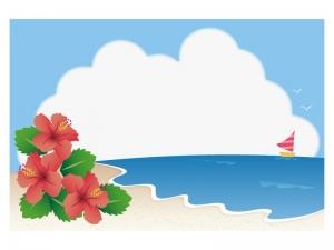文字無し・海とハイビスカスとヨットの暑中見舞いテンプレートイラスト