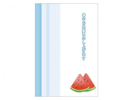 スイカの暑中見舞いテンプレートイラスト01
