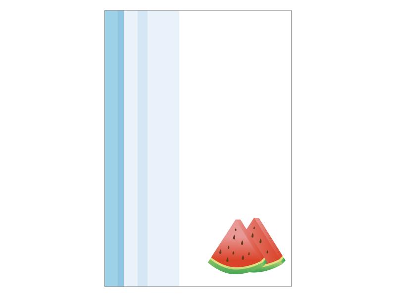 文字無し・スイカの暑中見舞いテンプレートイラスト01