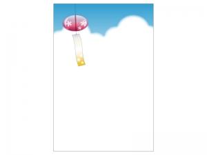 文字無し・風鈴と入道雲の暑中見舞いテンプレートイラスト01
