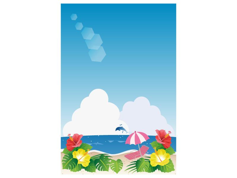 文字無し・海とハイビスカスの咲くビーチの暑中見舞いテンプレートイラスト