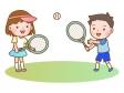 男女でテニスをしているシーンのイラスト