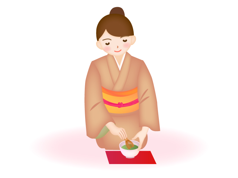 茶道でお茶を入れている女性のイラスト