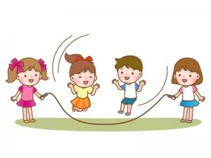 長縄跳びをしている子供達のイラスト