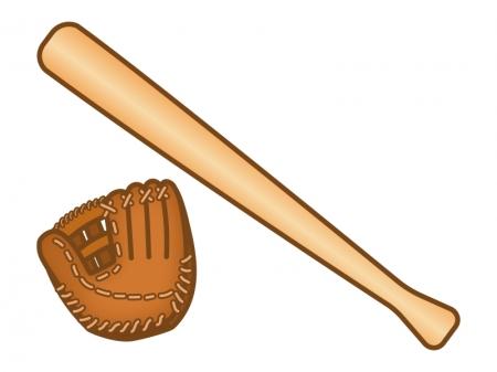 野球のグローブとバットのイラスト