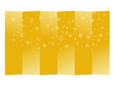 桜模様の金屏風のイラスト