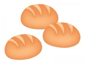 3個のロールパン・コッペパンのイラスト