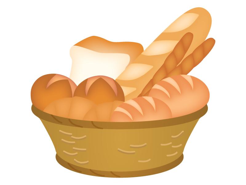 バスケットに入ったかご盛りのパンのイラスト