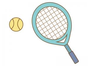 緑のテニスラケットとテニスボールのイラスト