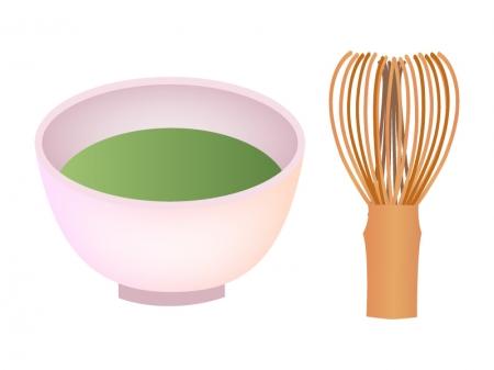茶筅(茶せん)と抹茶茶碗のイラスト
