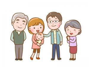 親子3世代の家族のイラスト素材