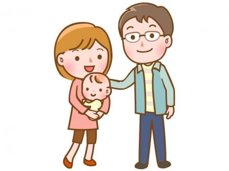 家族・赤ちゃんと夫婦のイラスト
