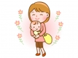 赤ちゃんを抱っこしたお母さんのイラスト