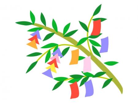 笹の葉と七夕飾りのイラスト素材02