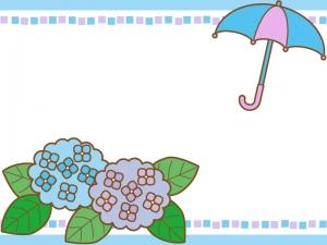 紫陽花と傘の枠・フレーム素材