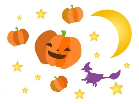 ハロウィン・かぼちゃと魔女のイラスト