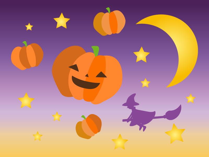 夜空の中のハロウィン・かぼちゃと魔女のイラスト
