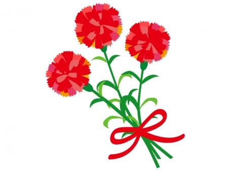 赤いカーネーションの花束のイラスト02