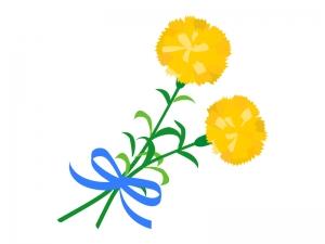 黄色いカーネーションの花束のイラスト