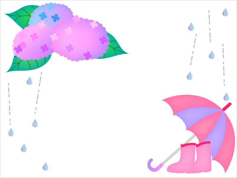 長靴と傘と紫陽花の枠・フレーム素材